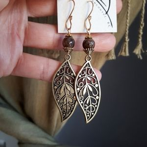 Jewelry - Long antique brass dangly filigree Leaf Earrings